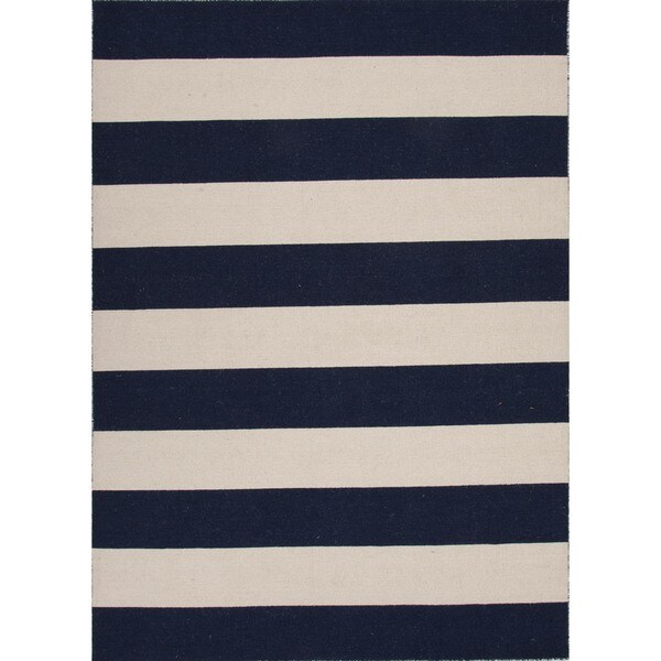 Flat Weave Navy / Beige Striped Wool Rug (9' x 12')