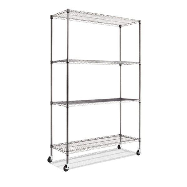 Alera Complete Black Antracite Wire Shelving 4-shelf Unit with Caster