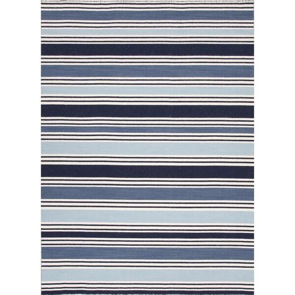 Flat Weave Stripe Blue Wool Rug (9' x 12')