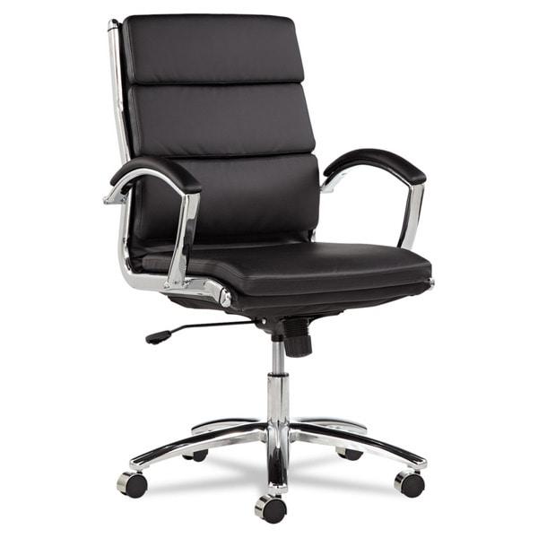 Alera Neratoli Mid-Back Slim Profile Chair, Black Leather, Chrome - 24 x 27.25 x 42.13