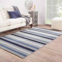Lancaster Handmade Stripe Blue/ White Area Rug (8' X 10')