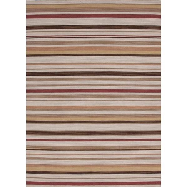 Flat Weave Stripe Multi Color Wool Rug (10' x 14')
