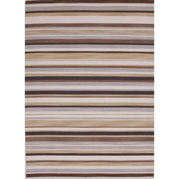 "Flat-Weave Striped Blackberry/Multicolored Wool Runner (2'6"" x 8')"