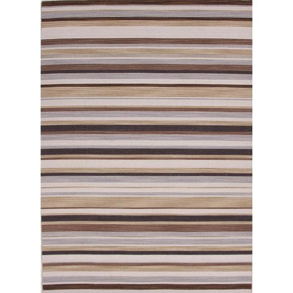 Flat-Weave Stripe Blackberry/Multicolor Wool Rug (9' x 12')