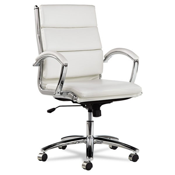 Alera Neratoli White Faux Leather Chrome Frame Mid-back Swivel / Tilt Chair