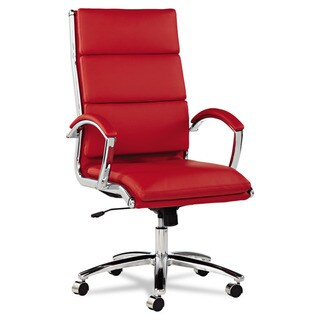 Alera Neratoli Red Soft Touch Leather Chrome Frame High Back Swivel / Tilt  Chair