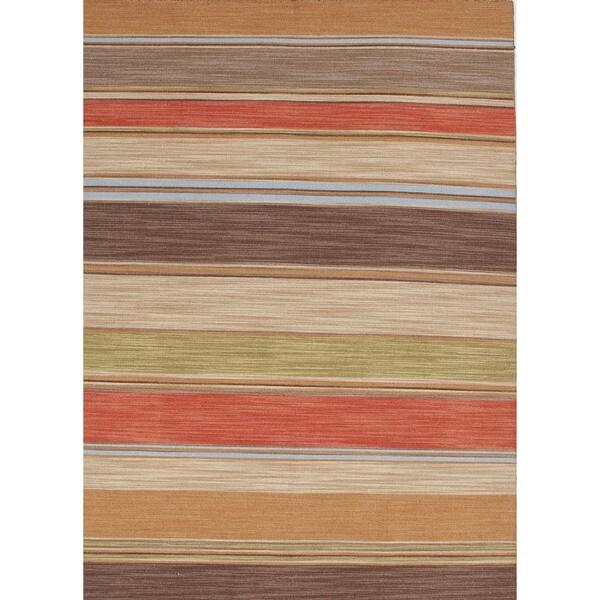 Flat-Weave Stripe Poppy/Multicolor Wool Rug (9' x 12')
