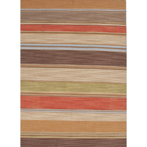 Flat-Weave Striped Poppy/Multicolor Wool Rug (8' x 10')