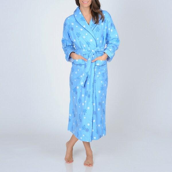 766bcd55dbf8 Shop La Cera Women s Snowflake Print Flannel Wrap Robe - Free ...