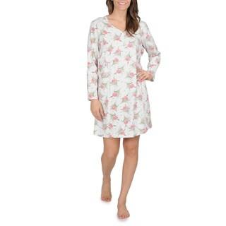 La Cera Women's Floral Print Knit Nightshirt