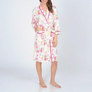 La Cera Women's Floral Printed Knit Wrap Robe