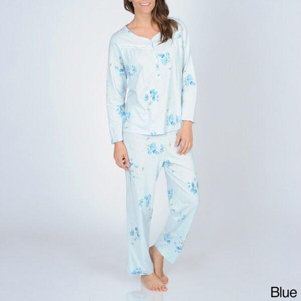 La Cera Women's Floral Knit Pajama Set