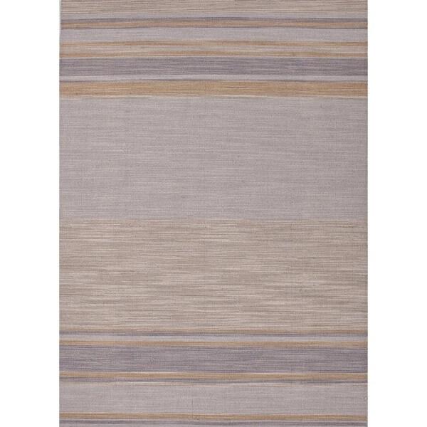 Flat-Weave Stripe Ashwood/Multicolor Wool Rug (9' x 12')