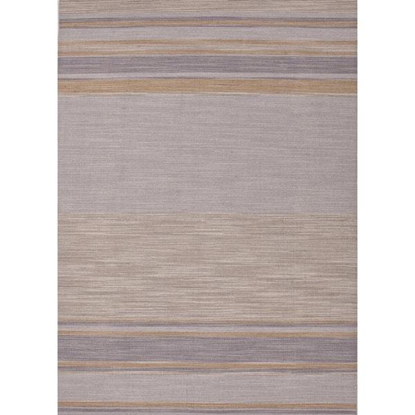 Flat Weave Stripe Multi Color Wool Rug (5' x 8') Ashwood