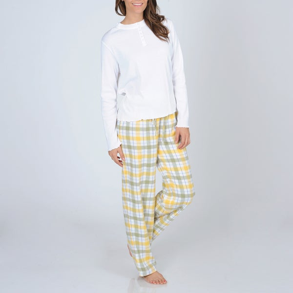 La Cera Women's Knit Top and Plaid Flannel Bottoms Pajama Set