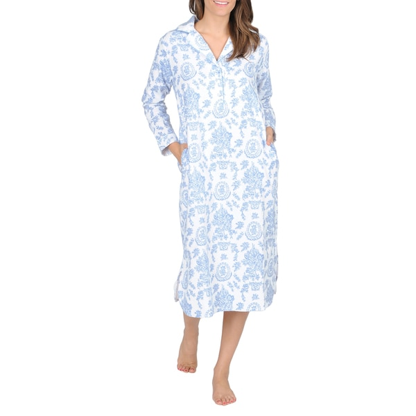 La Cera Women's Blue Floral Print Flannel Nightgown