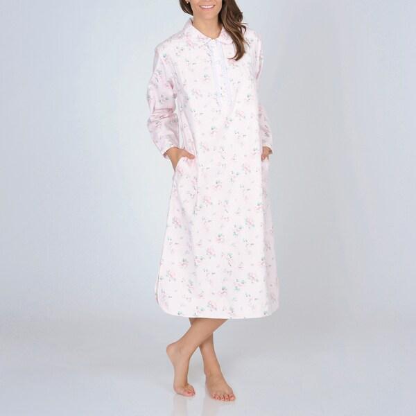 La Cera Women's Pink Floral Print Flannel Nightgown