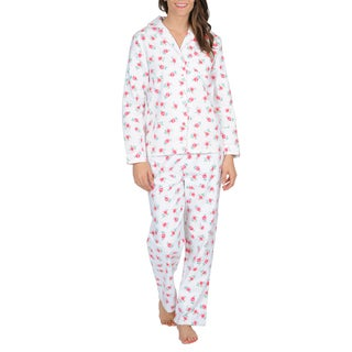La Cera Women's Pink Cotton Floral Print Flannel Pajama Set