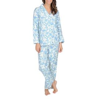 La Cera Women's Mint Floral Print Flannel Pajama Set