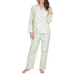 La Cera Women's Yellow Floral Print Flannel Pajama Set