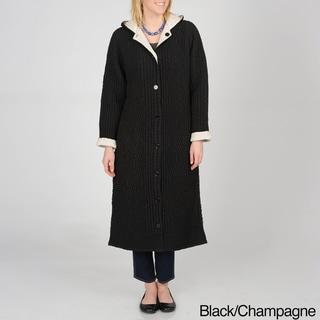 La Cera Women's Allover Puckered Reversible Long Coat