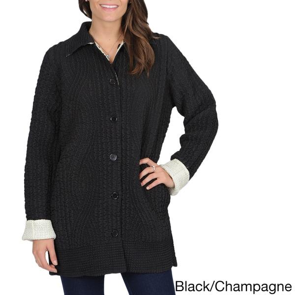 La Cera Women's Allover Puckered Reversible Jacket