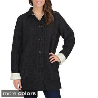 La Cera Women's Allover Puckered Reversible Jacket (3 options available)