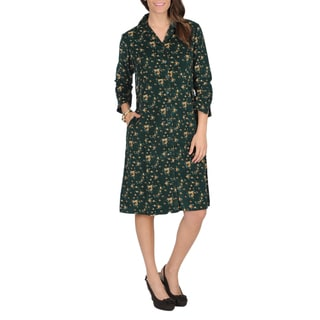 La Cera Women's Hunter Floral Print Corduroy Dress