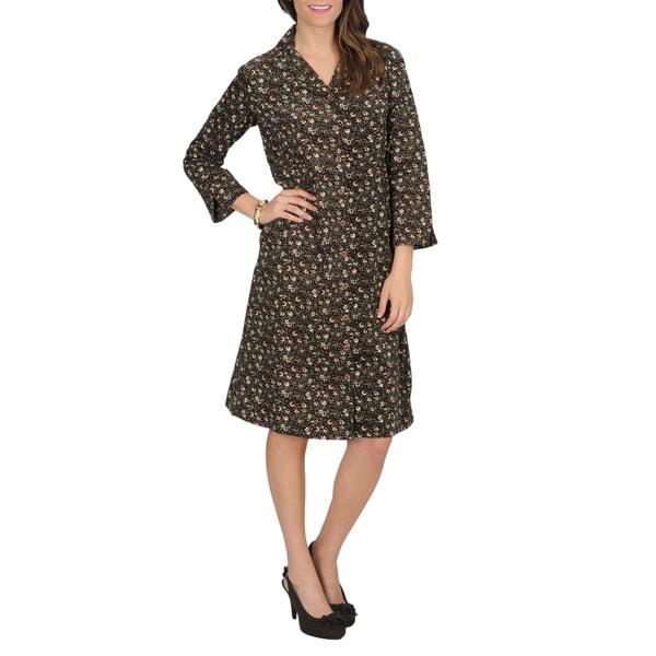 La Cera Women's Floral Print Corduroy Dress
