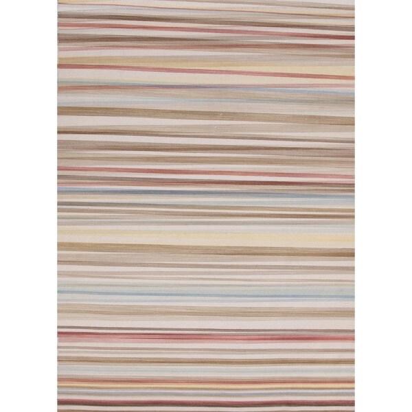 Flat-Weave Striped Celestial-Blue/Multicolor Wool Rug (8' x 10')