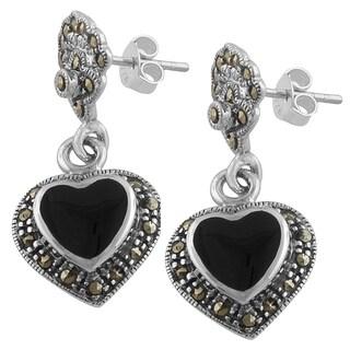 Fremada Sterling Silver Black Onyx and Marcasite Heart Dangle Earrings