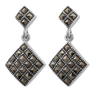 Fremada Sterling Silver Marcasite Diamond-shaped Dangle Earrings