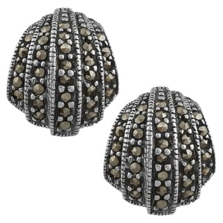 Fremada Sterling Silver Marcasite Shell-shaped Open Earrings