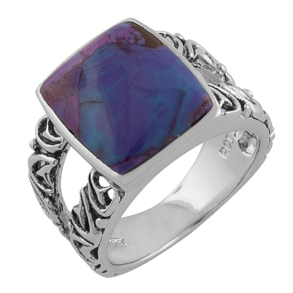 Fremada Sterling Silver Square Purple Turquoise Ring