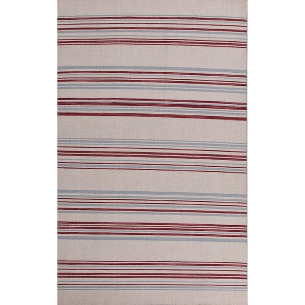 Flat-Weave Striped White-Ice/Multicolor Wool Rug (8' x 10')
