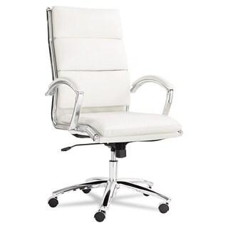 Alera Neratoli White Soft-touch Leather Chrome Frame High-back Swivel / Tilt Chair