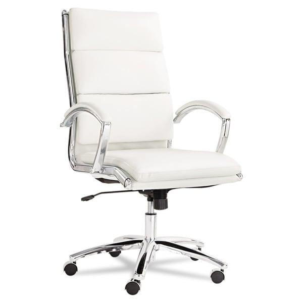 Alera Neratoli White Soft Touch Leather Chrome Frame High Back Swivel /  Tilt Chair