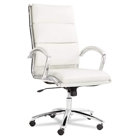 Alera Neratoli White Soft-touch Leather Chrome Frame High-back Swivel / Tilt Chair