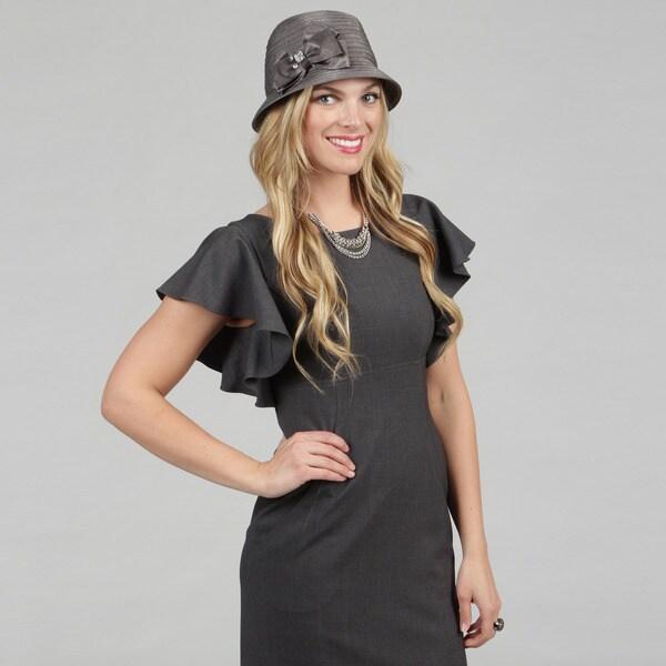 Swan Grey Satin Ribbon Fedora Hat