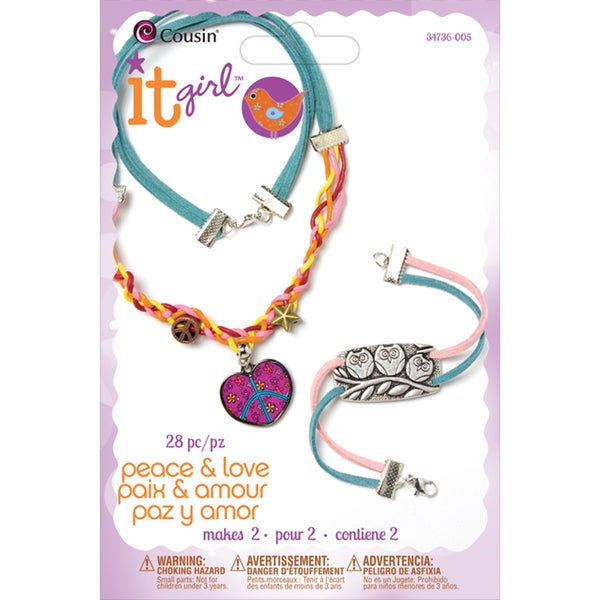 It Girl Jewelry Kits-Peace,love,and Owls 28 Pieces