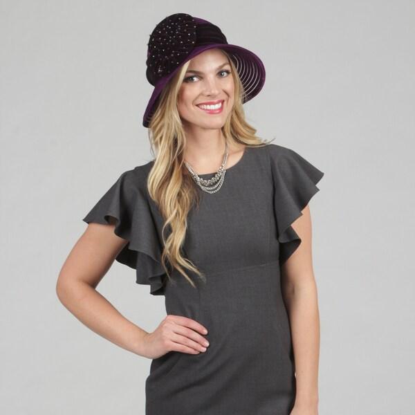 Swan Women's Grape Velvet Ribbon Packable Hat