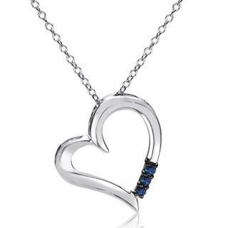 Sterling Silver 1 10ct Three Stone Blue Diamond Heart Pendant 9 6 X 13 6