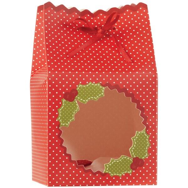 "Scalloped Treat Boxes 3""X3"" 6/Pkg-Cottage Christmas"
