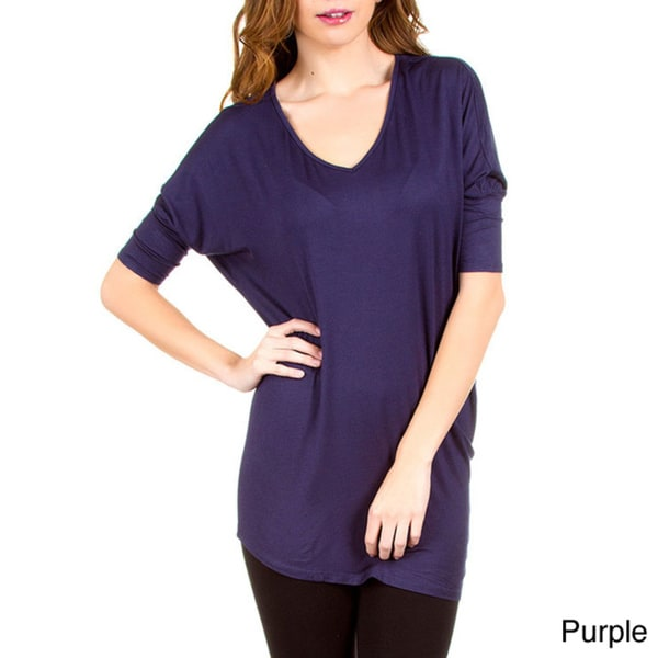 Stanzino Women's V-neck Dolman Solid Top