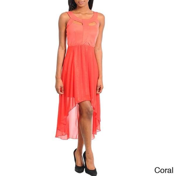 Stanzino Women's Two-tone Sleeveless High-low Dress