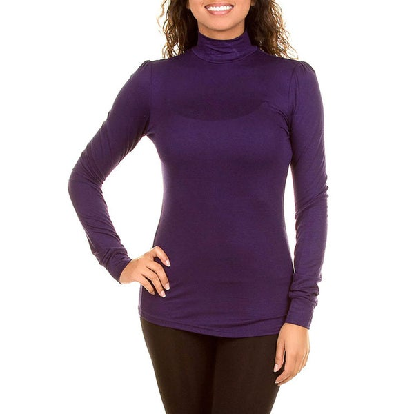 Stanzino Women's Purple Turtleneck Long Sleeve Top