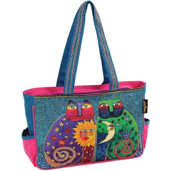 "Medium Tote W/Zipper Top 15""X4-1/2""X10""-Celestial Felines"