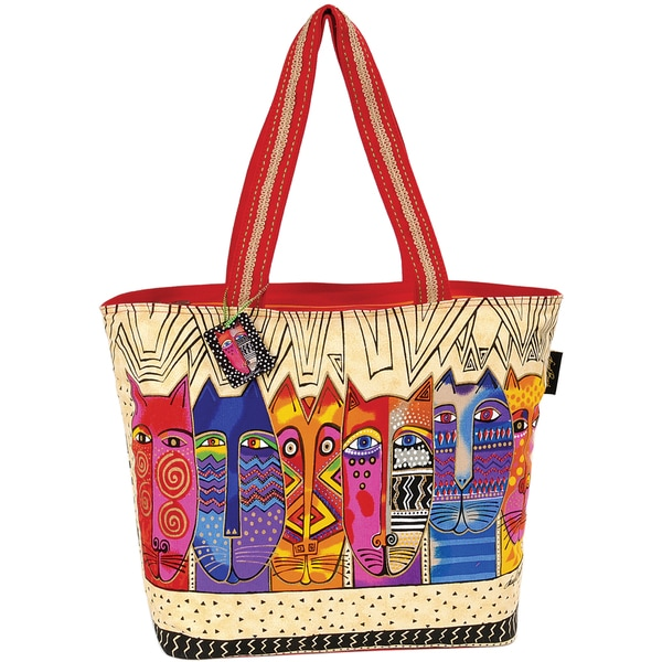"Shoulder Tote W/Zipper Top 21""X6-1/2""X15""-Tribal Felines"