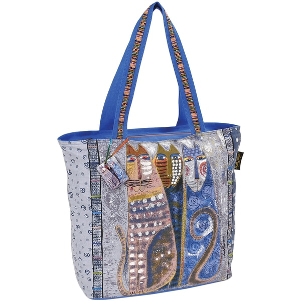 "Oversized Tote W/Zipper Top 21""X5-1/2""X15""-Autumn Felines"