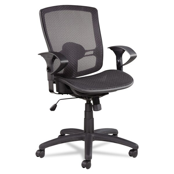 Alera Etros Series Suspension Mesh Mid-back Synchro Tilt Black Chair